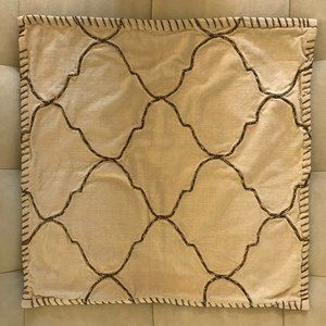 Pottery Barn Beige Pillow Cover with Metallic